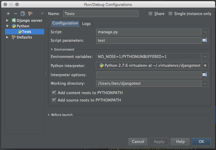 Configuration for PyCharm to make tests work in debug.